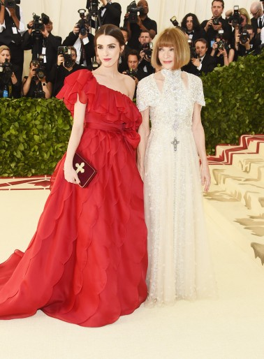Anna Wintour in Chanel Spring 2018 Couture with Bee Shaffer in Valentino Spring 2018 Couture
