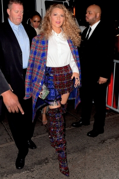 Blake Lively Makes Fashion Statement in Tartan as she Arrives at Rihanna's Met Gala After Party