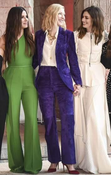 Cate Blanchett in Salvatore Ferragamo Fall 2018 &Sandra Bullock in Elie Saab &Anne Hathaway in MaticevskiSpring 2018-1