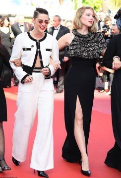 Kristen Stewart in Chanel Resort 2019 with Lea Seydoux in Louis Vuitton