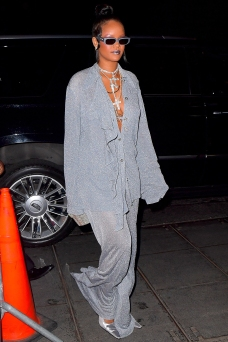 Rihanna Shimmers in Grey As She Arrives to her Met Gala After Party in NYC