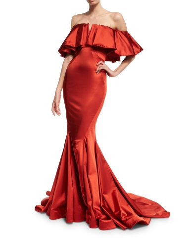 Zac Posen Off-the-Shoulder Satin Trumpet Gown