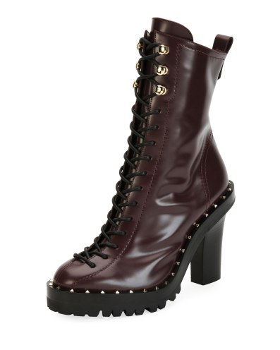Valentino Soul Rockstud Lace-Up Bootie