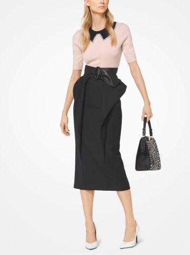 Michael Kors Satin And Wool Broadcloth Peplum Skirt