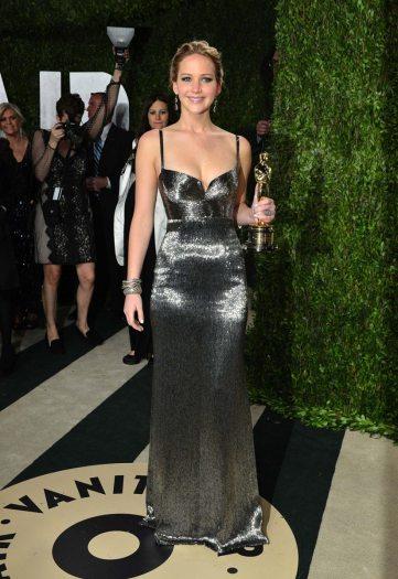 Jennifer Lawrence in Calvin Klein for 2013 Vanity Fair Oscar Party