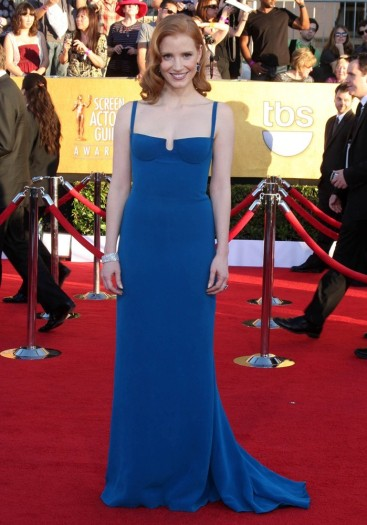 Jessica Chastain in Calvin Klein for 2012 SAG Awards