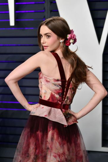 Lily Collins in Marchesa Fall 2019-1