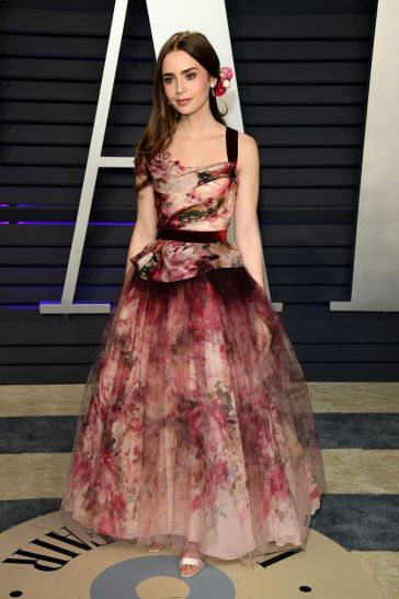 Lily Collins in Marchesa Fall 2019-3