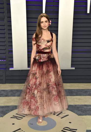 Lily Collins in Marchesa Fall 2019