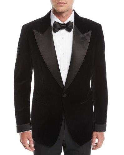 Tom Ford Men's Shelton Shawl-collar Velvet Tuxedo