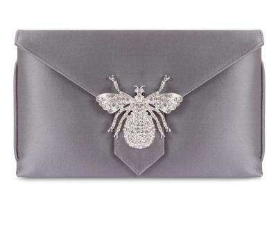 Charlie Classic Silk Clutch in the Steel colorway