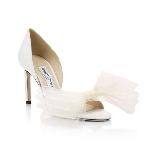 Jimmy Choo White New Adesu Tulle Bow 10 Pumps