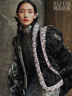 Lina Zhang & Bomi Youn & Tominaga Ai for Harper's Bazaar China September 2019-2