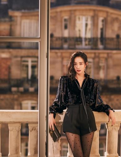 Ning Zhang in Saint Laurent Fall 2019--2