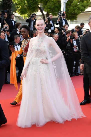 Elle Fanning in Reem Acra Bridal Fall 2019
