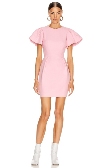 Alexander Mcqueen Puffed-sleeve Pleated Wool-blend Mini Dress In Pink