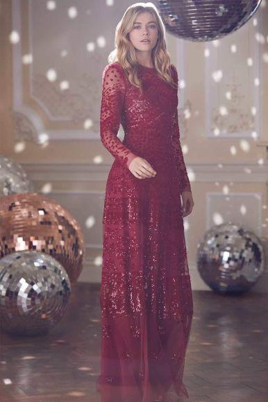 Needle & Thread Aurora Midi Dress in Cherry Red