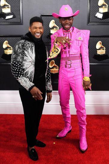 Usher in Balmain Fall 2020 Menswear and Lil Nas X in Atelier Versace-1