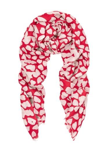 Beulah London 'Shibani' Red & Ecru Heart Print Scarf