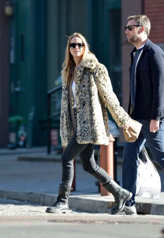 Jennifer Lawrence in J.Crew Leopard Coat-6