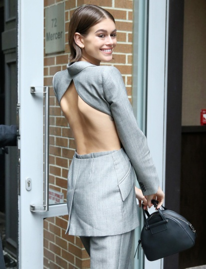 Model Kaia Gerber Is Seen Wearing An Open-Back Silver Pants Suit After Her Jimmy Choo X Kaia Appearance In New York City