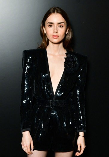 Lily Collins in Saint Laurent Spring 2020-2