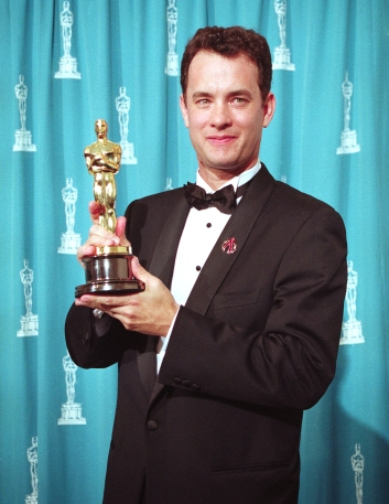 "Tom Hanks Holding His Oscar for ""Philadelphia"""