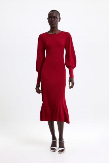 Zara Red Puff Sleeve Dress