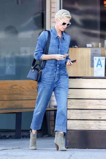 Charlize Theron in a Denim Jumpsuit-1