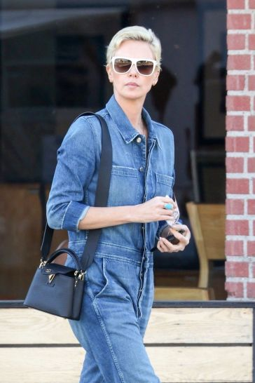 Charlize Theron in a Denim Jumpsuit-2
