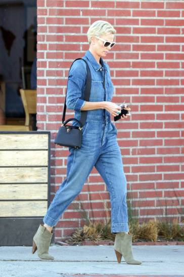 Charlize Theron in a Denim Jumpsuit-3