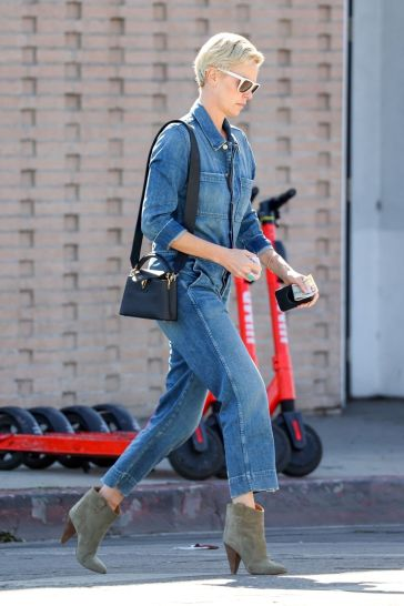 Charlize Theron in a Denim Jumpsuit-4