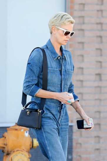 Charlize Theron in a Denim Jumpsuit-5