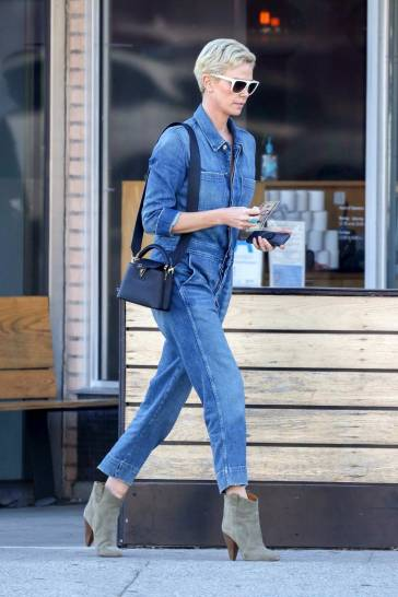 Charlize Theron in a Denim Jumpsuit-6