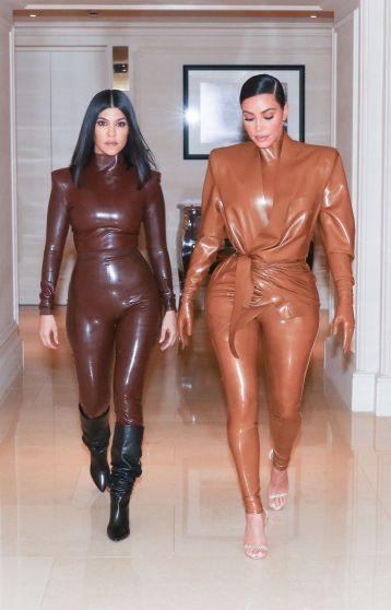 Kourtney and Kim Kardashian in Balmain Fall 2020-2